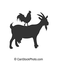goat and rooster, icon, vector illustration