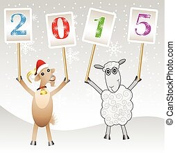 goat and sheep with numbers 2015,vector illustration