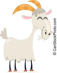 goat., art, agrafe, simple, illustration, vecteur, gradients, dessin animé, heureux