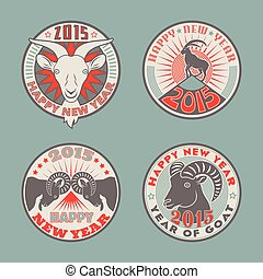 Goat badges color - Set of 2015 Chinese New Years symbol...