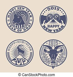 Goat badges - Set of 2015 Chinese New Years symbol goat...