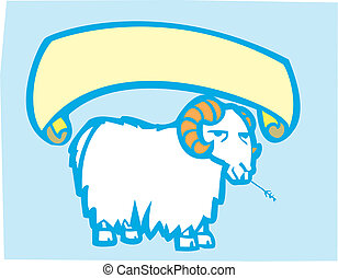 Goat Banner - Comical goat on blue background with scroll...