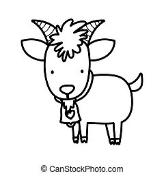 goat bovine with bell farm animal cartoon thick line