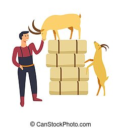 Goat breeding by farmer man person with animals vector....