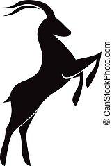 goat, calendario, señales, logotipo, zodíaco, o, icono