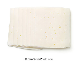 Goat Cheese Slices Isolated On White Background