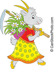 Goat going with a scythe and wisp of straw with flowers