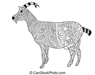 Goat Coloring vector for adults