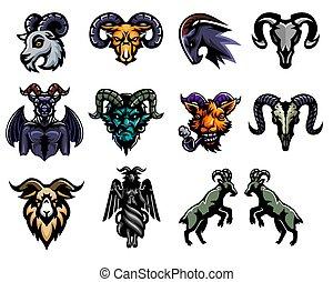 goat, conjunto, illustration., pegatina, vector, diseño, logotipo, mascota