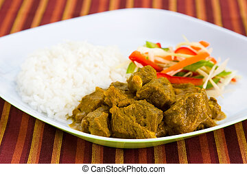 Goat Curry with Rice - Caribbean Style - Caribbean style...