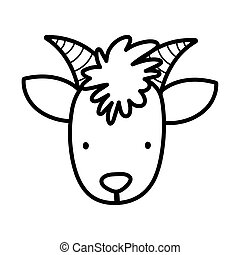 goat face bovine farm cartoon animal thick line