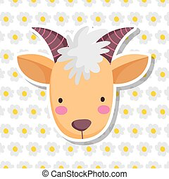 goat face farm animal cartoon flowers background