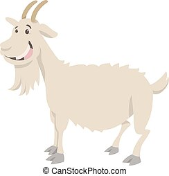 goat farm animal character - Cartoon Illustration of Funny...