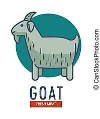 Goat fresh meat promotional emblem with domestic animal....