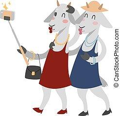 Goat girls couple friends vector portrait illustration on ...