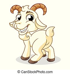 Goat glance behind, mammal animal, cartoon vector illustration mascot, in isolated white background.