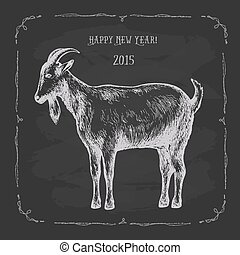 Goat, hand-drawing - Goat, hand drawing white lines on a...