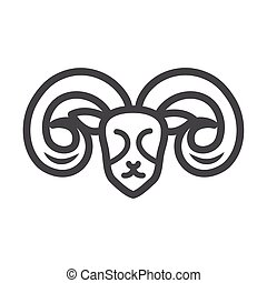 goat head animal portrait white background line style icon