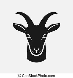 Goat head black silhouette. Farm animal icon