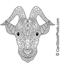 Goat head Coloring vector for adults