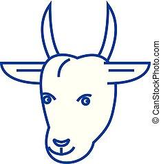 Goat head line icon concept. Goat head flat vector symbol, sign, outline illustration.