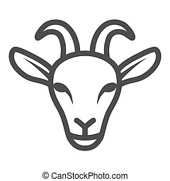 Goat head line icon, livestock concept, nanny-goat head sign on white background, Goat face icon in outline style for mobile concept and web design. Vector graphics.
