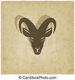 Goat head symbol old background