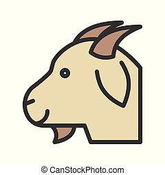 Goat head vector, Farm animal filled style editable stroke icon