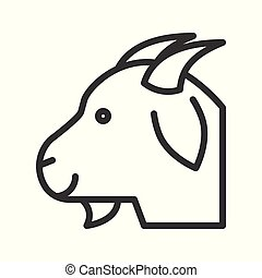 Goat head vector, Farm animal line style editable stroke icon