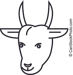 goat head vector line icon, sign, illustration on background, editable strokes