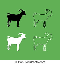 Goat icon  Black and white color set