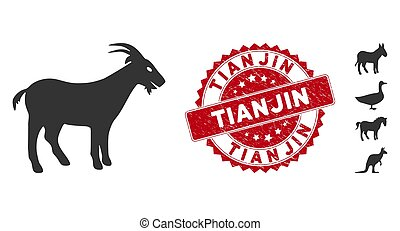 Goat Icon with Scratched Tianjin Stamp