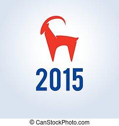 goat., illustratie, vector, jaar, nieuw, 2015., vrolijke