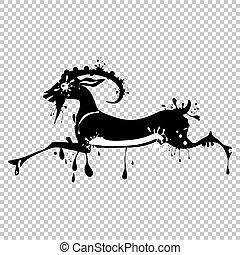 goat., illustration., chinees, symbool., vector, lunair, dier, kalligrafie, chêvre