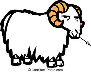 Goat - Long wool coated cartoon goat chewing on a blade of...