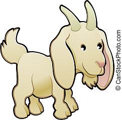 goat, ilustración, lindo, vector, animal granja