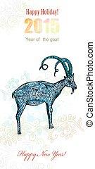 goat, invito, scheda, pittura, acquarello