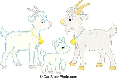 Goat, kid and he-goat - A funny goat family, a vector...