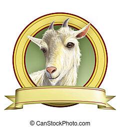 Goat illustration suitable for food labels. Digital illustration.