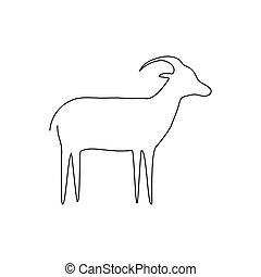 Goat line icon. Farm animal
