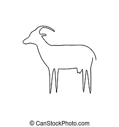 Goat line icon. Farm animal continuous line