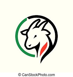 Goat meat trade sign - Nanny-goat head symbol isolated on...