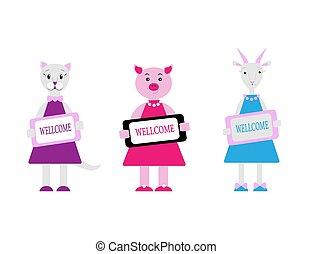 goat., mignon, garder, animaux ferme, dessin animé, cochon, plaque., illustration, plat, wellcome, style., vecteur, caractères, ensemble, chat