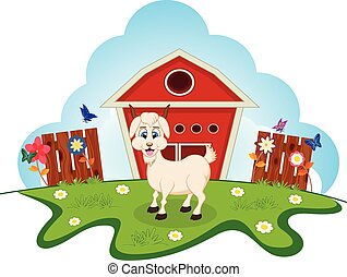 Goat on farm for your design
