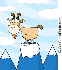 Goat On Top Of A Mountain Peak - Goat Cartoon Character On...