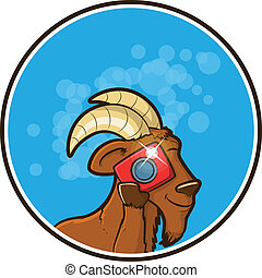 Illustration of a goat using a camera to take a picture