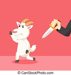 goat run from hand with knife