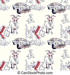 goat, rusty car, money and predator tree seamless pattern,...