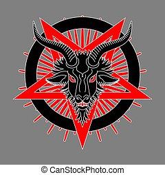 goat, satan, pentagram., シンボル, baphomet, head., demon., ...