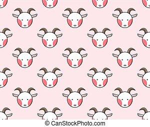 Goat Seamless on Light Pink Background. Vector Illustration